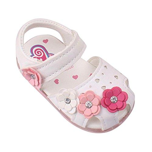 Amlaiworld Babyschuhe, Kleinkind Blumen Mädchen Sandalen beleuchtet weichen Sohlen Prinzessin Baby Schuhe (15, weiß)