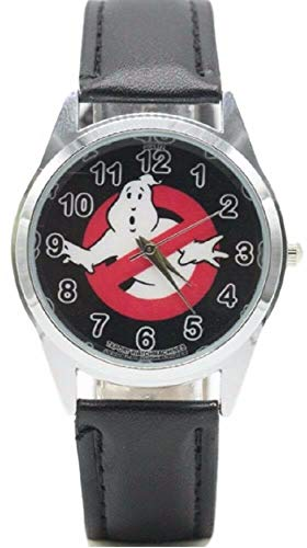Ghostbusters No Ghost Logo Black Genuine Leather Band Wrist Watch