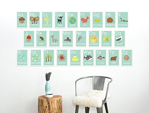 English Alphabet Wall Cards, 5 x 7 Inches, Our World, Nature Themed, Kid's Wall Art, Nursery Decor, Kid's Room Decor, Gender Neutral Nursery Decor