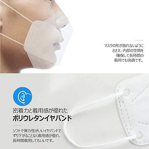 『HINCINK 20枚 個包装マスク 4層構造 不織布 通気性 超快適 立体型マスク 在庫あり (10, ホワイト)』の3枚目の画像