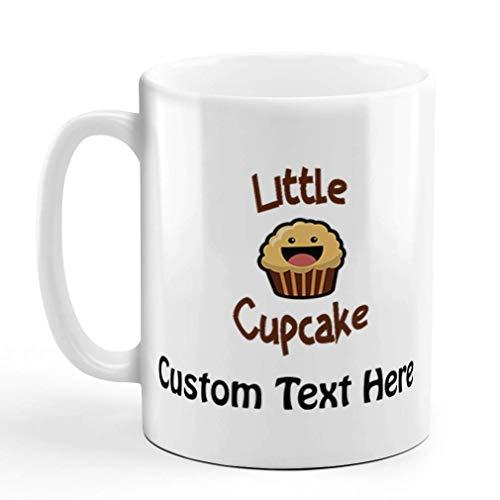 N\A Taza de café Personalizada, 11 onzas, Cupcake Sonriente, cumpleaños, marrón, pequeña Taza de té de cerámica, Texto Personalizado aquí