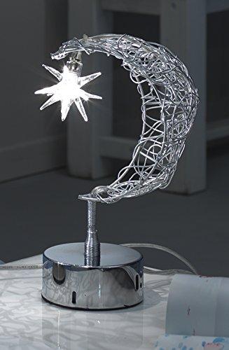 onli – lampe de table Abat-jour G4 Lune. Structure composée de fils torsadés en métal chromé, pendentif en verre en forme d'étoile qui contient la Ampoule. Idéal pour chambre d'enfants.