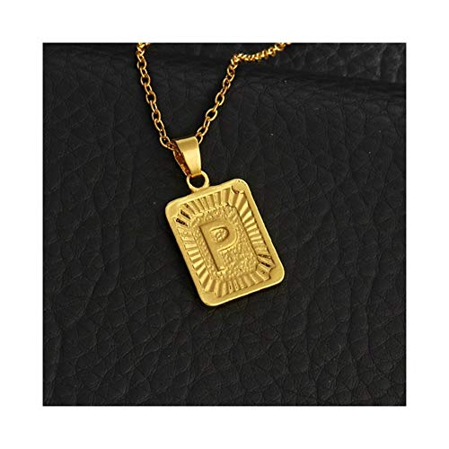 AdorabFruit Gift Pendant Tiny Gold Initial A-Z Letter Necklaces Unisex Charm Luster Gold Medal Capital Letter Necklace Pendant For Women Men Jewelry Gift (Length : 28cm, Metal Color : P)