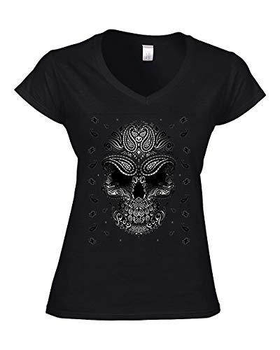 DarkArt-Designs Bandana Skull - Totenkopf T-Shirt für Damen - Gothicmotiv Shirt Tattoo Biker Metal Fun Party&Freizeit Lifestyle Slim fit, Größe L, schwarz