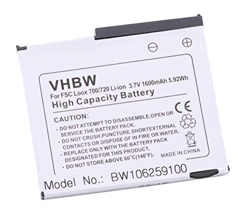 vhbw Batterie Compatible avec Fujitsu-Siemens Pocket Loox 700, 710 Smartphone Tablette Notepad PDA Assistant Personnel (1600mAh, 3,7V, Li-ION)