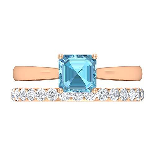 Rosec Jewels 14 quilates oro rosa asscher Round Brilliant Blue Moissanite Aquamarine