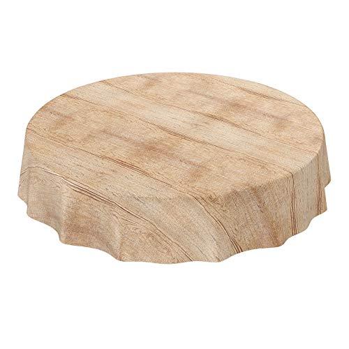 ANRO Wachstuch Tischdecke abwaschbar Wachstuchtischdecke Wachstischdecke Holz Beige Braun Rund 140cm