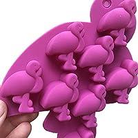 flamingo stampo ghiaccio in silicone, stampi x ghiaccio, 2 set vassoi cubetti ghiaccio lavabili per freezer, fenicottero, ideale per cocktail, bambini, alimenti a rilascio facile, 16 cubetti