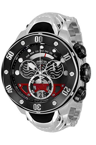 INVICTA Reloj de buceo Reserve, negro, reloj para hombre, cuarzo, color plateado