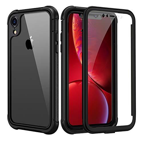 seacosmo Cover iPhone XR, 360 Gradi Rugged Custodia iPhone XR Antiurto Trasparente Case con Protezione Integrata dello Schermo, Nero