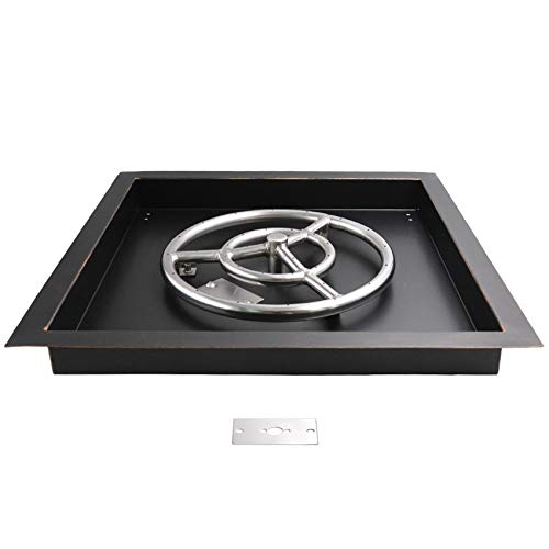 Skyflame 18 inch Square Fire Pit Burner Pan with 12' Round Fire Ring - Drop-in Style for Backyard Fire Table - Made of SUS 304 Stainless Steel Finished in Oil Rubbed Bronze
