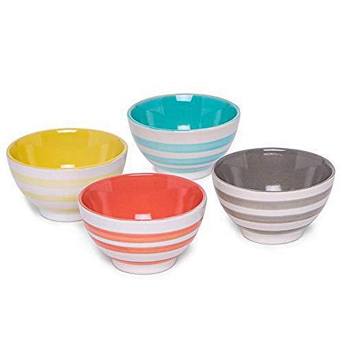 AllAsta Ceramic Striped Dip Bowls Multi-Colored Set of 4