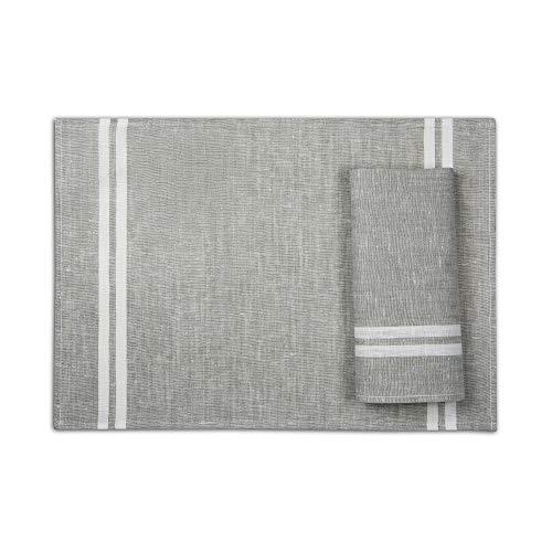 4-er Pack Leinen Platzsets -Tischsets Stoff - 50 x 35 cm - Farbe Grau/Varvara Home 1709