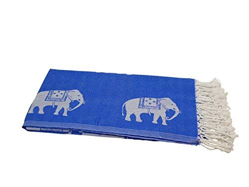 My Hamam, Saunatuch Hamamtuch, Pestemal mit winzigen Elefanten Motiven, blau mit Fransen, ca. 95x175 cm