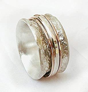 Special Spinner Ring for Women, Sterling Silver Ring with 2 Red or Yellow Gold Spinner Hoops and a Thick Sterling Silver Hoop, Organic Ring, Crumpled Tinfoil Texture Ring, Rustic Wedding Band