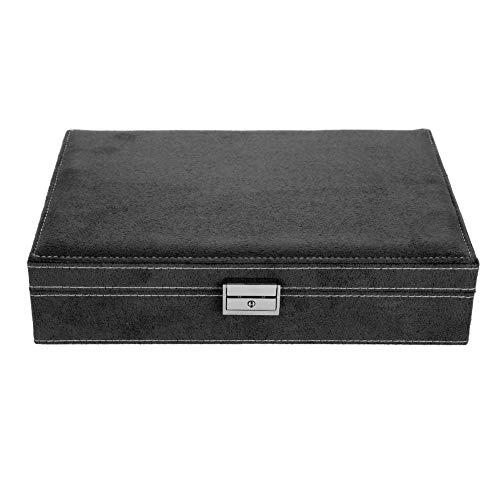 Aufbewahrungsbox für Ringe, Schmuckkästchen, klassisch, dekorative Box, Aufbewahrungsbox für Schmuck, Halskette, elegant, schwarzer Samt, Haken an der Seite, 28 x 19 x 7 cm (schwarz)