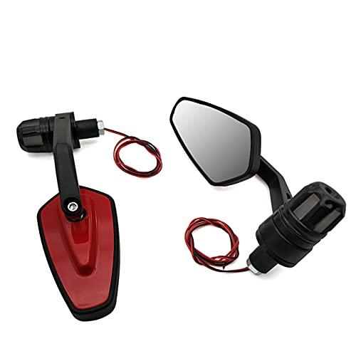 QWERASD Espejo retrovisor de Motocicleta para SU-ZUK GSF 650 GSXR 1000 1100 400 600 750 GSXS 750 Retrovisor De Motocicletas Espejos Accesorios con Luz De Señal De Giro (Color : Red)