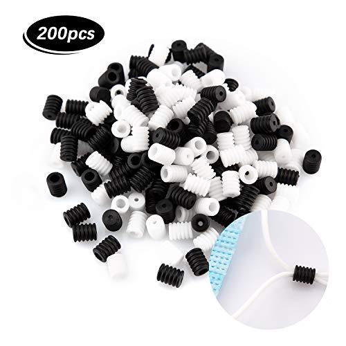LUTER 200 Stück Cord Locks Kippschalter Silikon Verstellbar Rutschfester Stopper Elastischer Kabeleinsteller für Masken-Kordeln (Schwarz, Weiß)