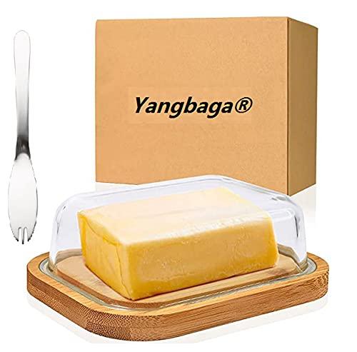 Yangbaga Portaburro, Contenitore per Burro in Vetro con Coperchio e Forchetta, Burriera...