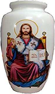 Religious Christian Funeral Cremation Urn with Jesus - Catholic Cremation Urn for Human Ashes - Hand Made in Aluminum - Suitable for Cemetery Burial or Niche - Large Size for Adults up to 200 lbs