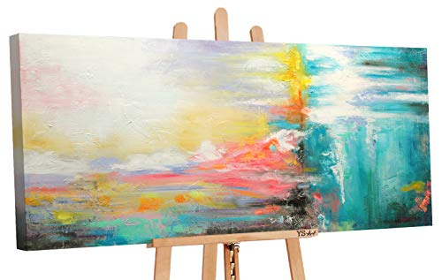 YS-Art | Cuadro Pintado a Mano Buen Humor | Cuadro Moderno acrilico | 115x50 cm | Lienzo Pintado a Mano | Cuadros Dormitories | único | Amarillo