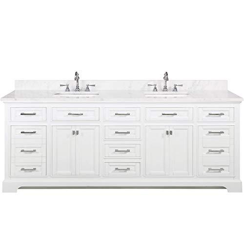 """Design Element ML-84-WT Milano 84"""" White Bathroom Vanity with Double Sink Quartz Countertop"""
