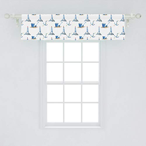 """Ambesonne Lighthouse Window Valance, Hand Drawn Watercolor Sea Elements Beach Holiday Pattern Vintage Illustration, Curtain Valance for Kitchen Bedroom Decor with Rod Pocket, 54"""" X 12"""", White Blue"""