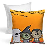 Hold Pillow Stylish Decorative Simple Geometric Pattern, Sofa, Home, Car 18x18inches Orange Cartoon Cute Halloween Frankenstein Ghost Witch Dracula Mummy Child