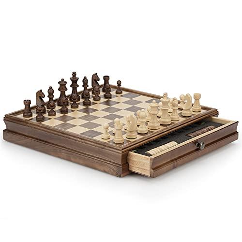 HHOSBFSS Torneo de ajedrez de Madera de Lujo Juego de Mesa Grande, Bandeja de Moda Antigua Almacenamiento Profesional diseño Medieval Backgammon, Ideal para un Amigo o coleccionista