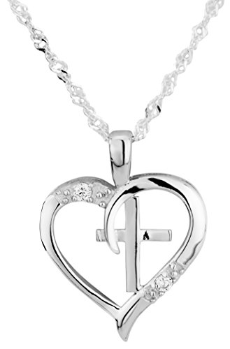 "Kinzie Fashion Sterling Silver Heart and Cross CZ Simulated Diamond 18"" Singapore Chain Pendant Necklace"