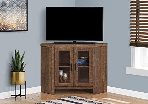 Monarch Specialties STAND-42 L/BROWN RECLAIMED WOOD-LOOK CORNER Tv Stand