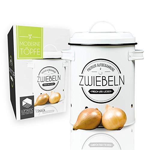 LOFTASTIC® Zwiebeltopf I Die stilvollste Art für noch länger frische Zwiebeln I Vorratsbehälter I Elegante Aufbewahrung in deiner Küche