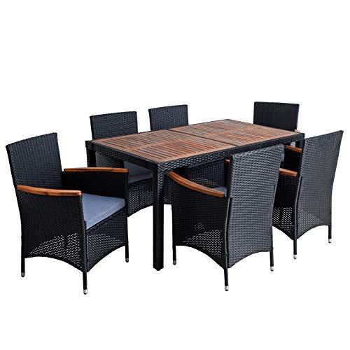 ESTEXO Polyrattan Sitzgruppe Gartenmöbel Set 6 Personen Akazie Holz Rattan Möbel Gartenset Holzmöbel Akazienholz Akazie Essgruppe (Schwarz)