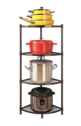 4-Tier Kitchen Pot Rack, Multi-Layer Corner Shelf Stand Stainless Steel Shelves for Kitchen