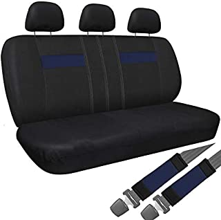 Motorup America Auto Bench Seat Cover Full Set - Mesh Covers Fits Select Vehicles Car Truck Van SUV - Black/Blue