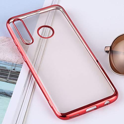 Ligero y hermoso, fácil de llevar. Carcasa trasera protectora de TPU ultrafina, galvanoplastia suave para Huawei Enjoy 9s/Honor 20i (Plata). Todos los botones y puertos son accesibles. (Color: rojo).