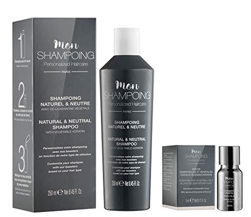 Mon Shampoing - Duo Shampoing Naturel - Cheveux Blonds - Sans SLS/Sans Paraben/Sans Silicone - Huiles Essentielles & Végétales Menthe, Romarin, Jojoba - convient pour Lissage/Extension. 250ml + 5ml