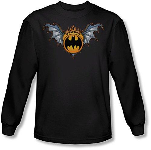 Batman - Männer Bat Flügel-Logo Langarm-Shirt in Schwarz, X-Large, Black