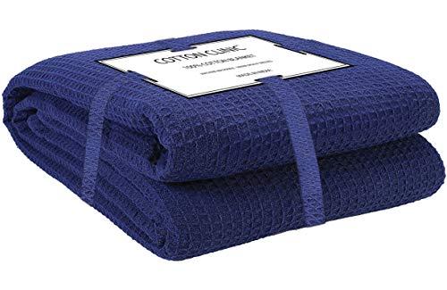 Katoenen-Kliniek Knuffeldeken 100% katoen 152x230 cm, zachte warme pluizige woondeken/reisdeken/knuffeldeken, sprei deken omkeerbaar Dubbele bank over bed stoel, donker blauw
