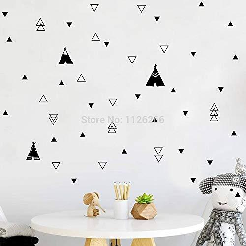 Black Triangles and Teepee Tent Vinyl Wall Stickers Kids Room Nursery Decor Art Decals