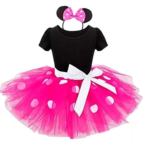 TTYAOVO Conjunto de Ropa para Bebés 2pcs, Trajes de Dibujos Animados Lindos para Niñas Bebés Top Estampado + Falda Tutu para 1-7 Años (6-9 Meses, 07 Rose Rojo)