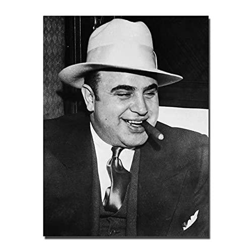 Liuqidong Cuadros Decorativos Al Capone Mafia película clásica Actor Pintura Arte Cartel impresión Lienzo decoración del hogar Imagen 60x90cm