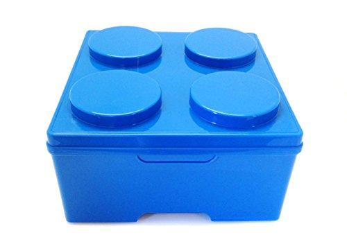 Outlook Design Brick 4 Contenitore Multiuso Impilabile, Organizer Cabina Armadio Portagiochi, Portaoggetti in Plastica, Misura 35 x 35 x 18 H cm, Blu