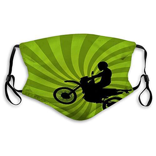 Mundabdeckungen voor mannen vrouwen jongens jongens springen dirt bike silhouet goede gezichtsafdekking