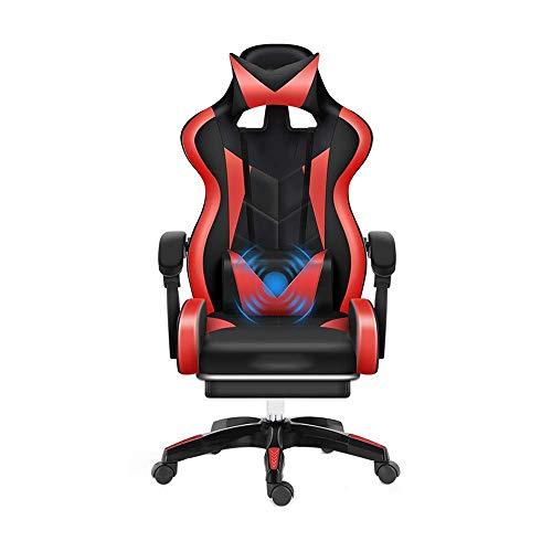 N/Z Daily Equipment Chair Ledersessel mit hoher Rückenlehne und Fußstütze Ergonomisch Verstellbarer Rennstuhl mit Kopfstütze und Massage-Lendenkissen Schwarz Rot