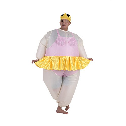 Anself Ballerina Inflatable Costume Fat Suit Blow Up Halloween Party Fancy Jumpsuit Outfit