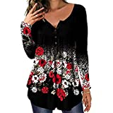 Blusa de túnica plisada con cuello en V para mujer, blusa Henley, camisas sueltas con volantes y botones para arriba, A-negro rojo, S