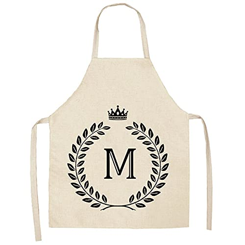 MLOPPTE Delantal de cocina de restaurante de cocina impermeable con lazo Floral para mujer 68x55