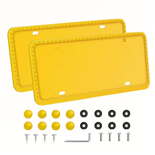 LivTee Yellow Silicone License Plate Frame, Universal American Auto License Plate Frame, Rust-Proof, Rattle-Proof, Weather-Proof(2pcs)