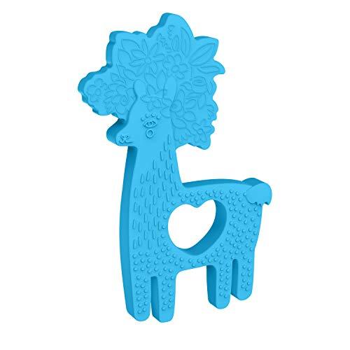 Manhattan Toy Anneau de Dentition en Silicone avec Lama, Bleu, 216610, Multicolore